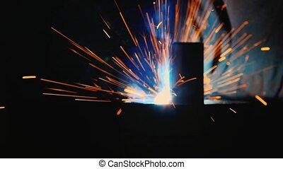 beaucoup, gros plan, fer, welding., fondu