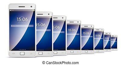 beaucoup, intelligent, téléphones, à, écran tactile