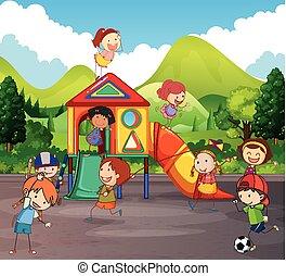 beaucoup, jouer, cour de récréation, enfants