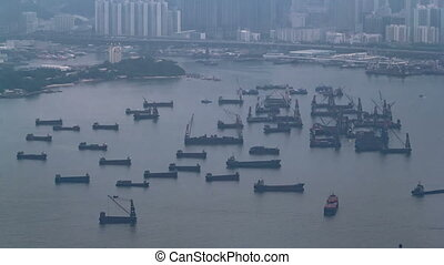 beaucoup, kong, port, pic, timelapse, victoria, port, hong, ships.