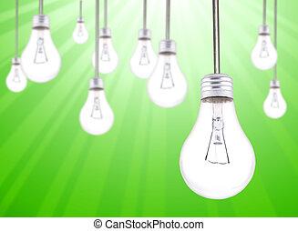beaucoup, lightbulbs, pendre