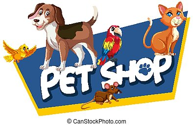 beaucoup, magasin, animaux, police, mot, gabarit, chouchou, conception