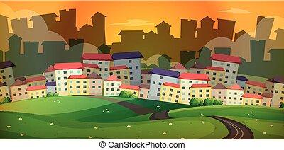 beaucoup, maisons, scène, fond, village