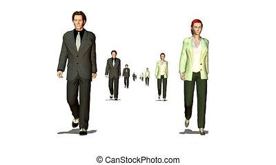 beaucoup, marche couples, business, faire boucle