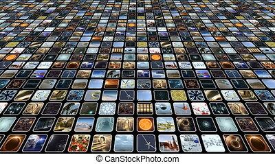 beaucoup, petit, icônes, animé, vidéo, loop-able., 3d, rendering., 4k, mur, monitors.
