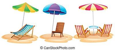 beaucoup, plage, sièges