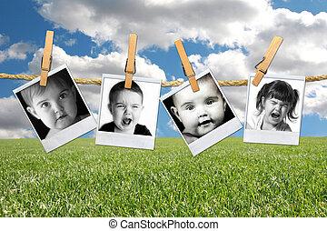 beaucoup, polaroid, jeune enfant, expressions, enfantqui...