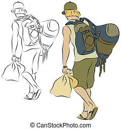 beaucoup, porter, jeune homme, sacs