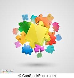 beaucoup, puzzle, vecteur, colors.