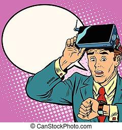 beaucoup, réalité, virtuel, temps