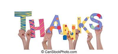 beaucoup, remerciement, tenant mains