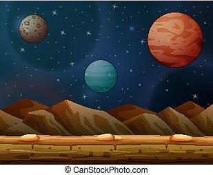 beaucoup, scène, fond, galaxie, planètes
