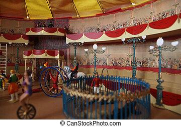 beaucoup, spectacors, cirque, modèle, artistes, différent, miniature, arène, balcone