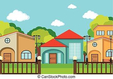 beaucoup, voisinage, scène, maisons