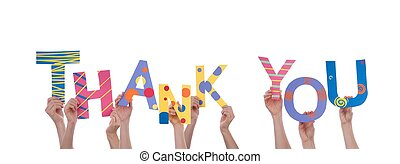 beaucoup, vous, remercier, tenant mains