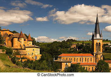 Beaujolais scenery - Image shows an old chateau and a church...