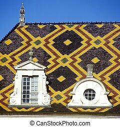 beaune, detalle, borgoña, techo, francia