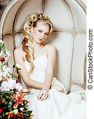 beauté, émotif, blonds, mariée, dans, luxe, intérieur, rêver, fou