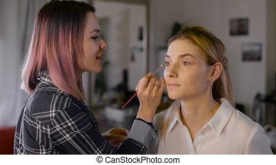 beauté, artiste, maquillage, studio, maquillage, girl