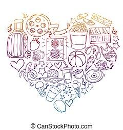 beauté, bande, mall., icônes, mode, discount., vente, shopping., achats, beauté, achats, modèle, vecteur, centre commercial
