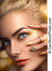 beauté, blond, modèle, sexy, girl, à, parfait, doré,...