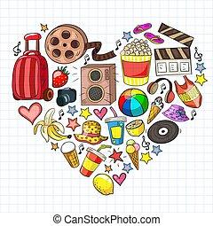 beauté, centre commercial, modèle, vente, shopping., icônes, mall., vecteur, discount., achats, achats, bande, beauté, mode
