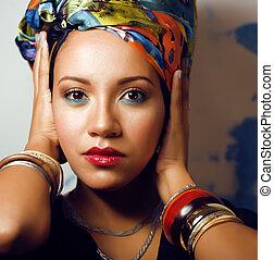 beauté, clair, africaine, à, créatif, grimer, châle, sur,...