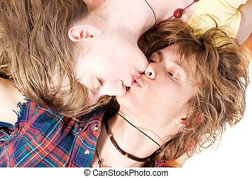 beauté, couple, jeune, 5, portrait, baisers