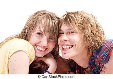 beauté, couple, jeune, 7, portrait, sourire
