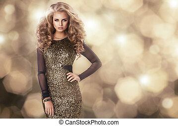 beauté, femme, dans, or, robe