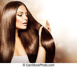beauté, femme, toucher, elle, long, et, sain, cheveux bruns