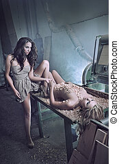 beauté, Femmes,  mannequins, deux, aimer