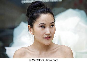beauté, figure, élégant, asiatique, propre, portrait, frais, dame