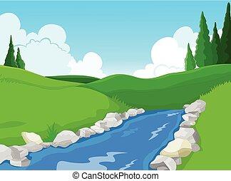 beauté, fond, paysage, lac
