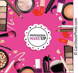 beauté, grimer, conception, pour, salon, cours, maquillage,...