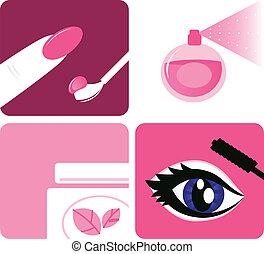 beauté, icônes, maquillage, isolé, cosmétique, blanc