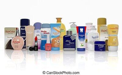 beauté, isolé, collection, produits, fond, blanc, 3d