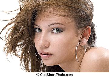beauté, jeune, isolé, 7, portrait, woman.