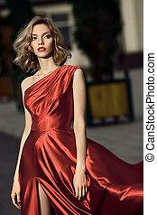 beauté, jeune, robe, battement des gouvernes, femme, rouges, sexy