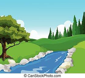 beauté, lac, paysage, backghround