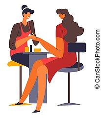 beauté, ou, manucure, salon, clou, studio, maître, client