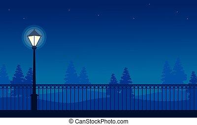 beauté, parc, lampe, rue, nuit, paysage