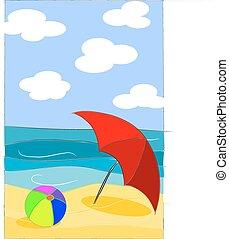 beauté, plage, coloré, illustration