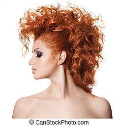 beauté, portrait., coiffure