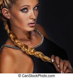 beauté, portrait, de, élégant, blond, woman.