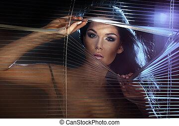 beauté, portrait, de, brunette, lady.