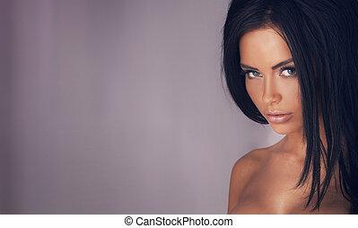 beauté, portrait, de, sensuelles, joli, lady.