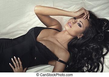beauté, portrait, de, sexy, brunette, lady.