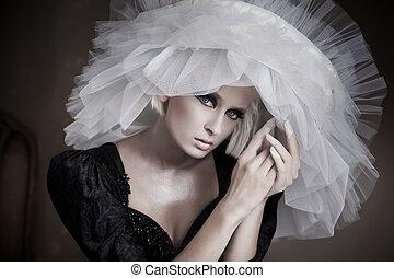 beauté, pose, jeune, portrait, blond, sensuelles