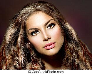 beauté, sain, cheveux, girl., modèle, brillant